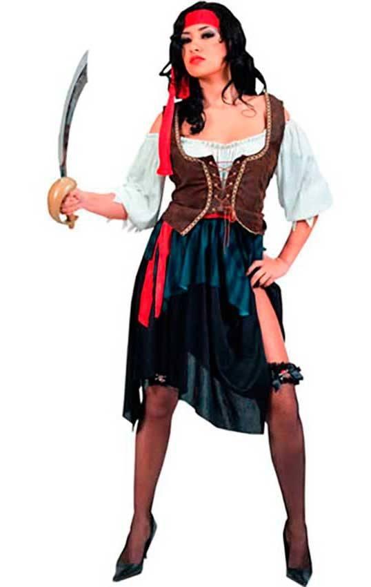 fabbrica stile romanzo bella vista Costume Pirata Corsaro Donna. Adulto
