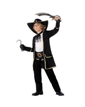 Costume da Capitano Pirata Nero Bambini per Carnevale | La Casa di Carnevale