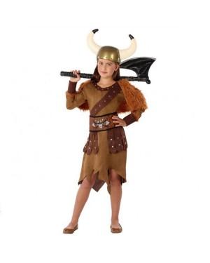 Costume Viking Marrone Bambina per Carnevale | La Casa di Carnevale