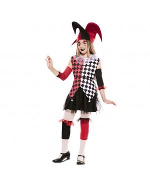 Costume Arlecchino Rosso Bambina per Carnevale | La Casa di Carnevale