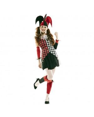Costume Arlecchino Rosso Donna per Carnevale | La Casa di Carnevale