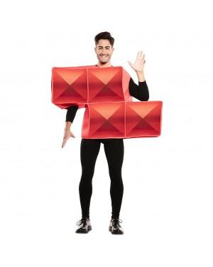 Costume Tetris Adulto Rosso per Carnevale | La Casa di Carnevale