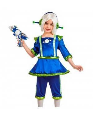 Costume Alieno Blu Bambina Taglia 3-4 Anni per Carnevale