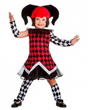 Costume Arlecchino Bianco-Rosso Bambina per Carnevale | La Casa di Carnevale