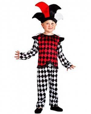 Costume Arlecchino Bianco-Rosso Bambino per Carnevale | La Casa di Carnevale