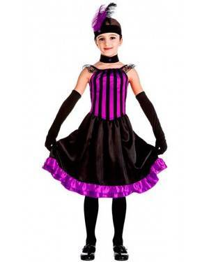 Costume Can Can Viola Tg. 3-4 Anni