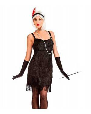 Costume Charleston Frange Nero Taglia M/L per Carnevale