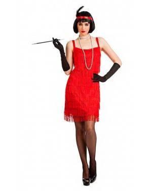Costume Charleston Frange Rosso Taglia M/L per Carnevale