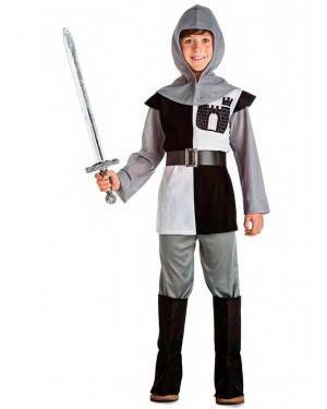 Costume Crociato Cavaliere Medievale Grigio Tg. 1-2 Anni
