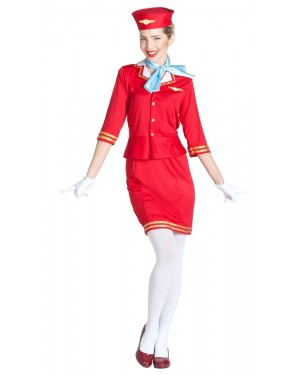 Costume da Assistente di Volo Rosso per Carnevale | La Casa di Carnevale