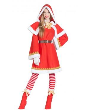 Costume da Babbo Natale per Donna con Mantello e Cappuccio per Carnevale | La Casa di Carnevale