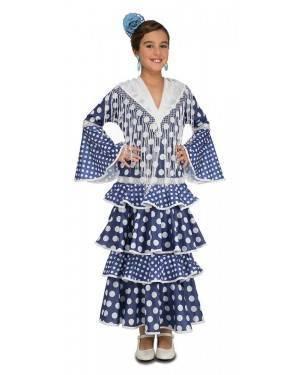 Costume da Ballerina di Flamenco Alvero Blu Bambina