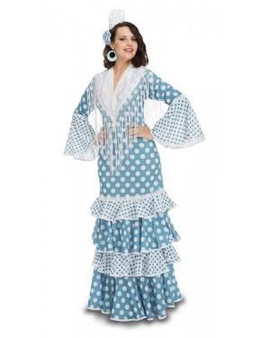 Costume da Ballerina di Flamenco Guadalquivir Turchese Adulto