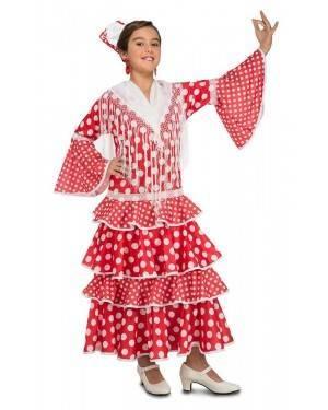 Costume da Ballerina di Flamenco Sivigliana Rosso Bambina