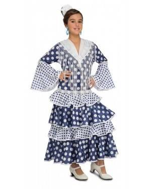 Costume da Ballerina di Flamenco Solea Blu Bambina