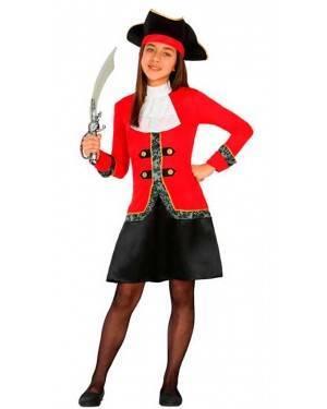 Costume da Capitano Pirata Bambina 7-9 Anni per Carnevale