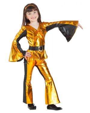 Costume da Discoteca Oro Bambina per Carnevale | La Casa di Carnevale