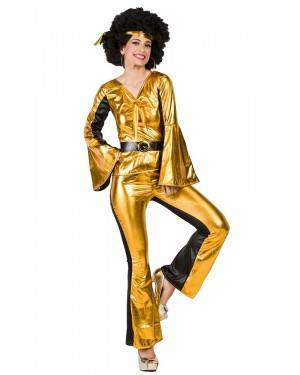 Costume da Discotecara Dorato Donna Taglia M/L