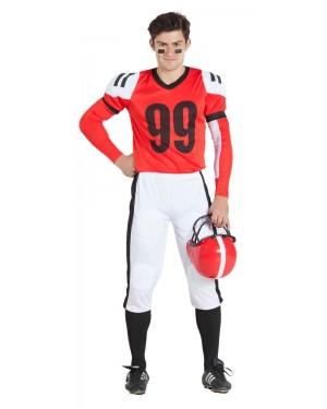 Costume da Giocatore di Rugby Rosso  per Carnevale | La Casa di Carnevale