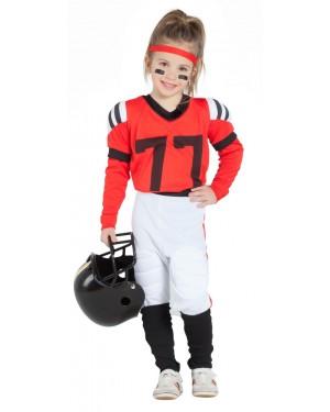 Costume da Giocatrice di Rugby Rosso per Carnevale | La Casa di Carnevale