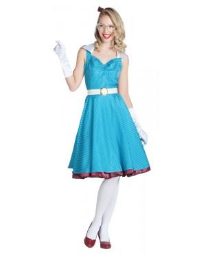 Costume da Pin Up Azzurro con Pois per Carnevale | La Casa di Carnevale