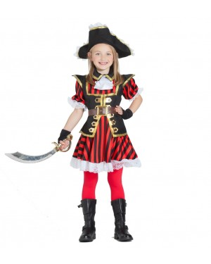Costume da Pirata per Bambina a Righe per Carnevale | La Casa di Carnevale
