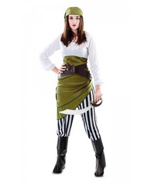 Costume Ragazza Pirata Verde Adulta