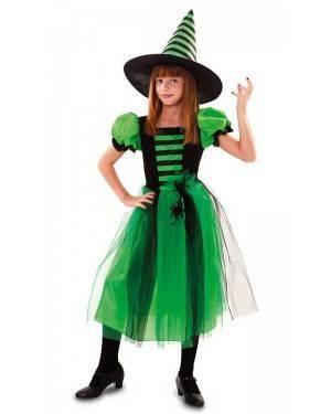 Costume Strega Verde con Ragno Bambina
