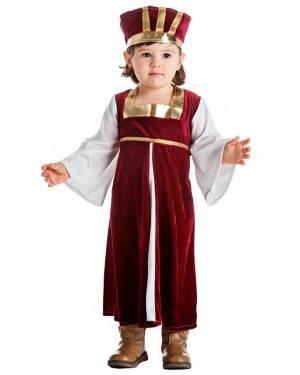Costume Dama Medievale Bordeaux Taglia 3-4 per Carnevale