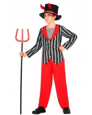 Costume Demone a Righe 10-12 Anni per Carnevale