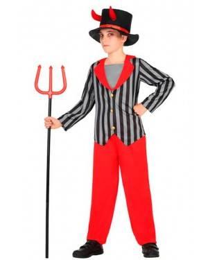 Costume Demone a Righe 7-9 Anni per Carnevale