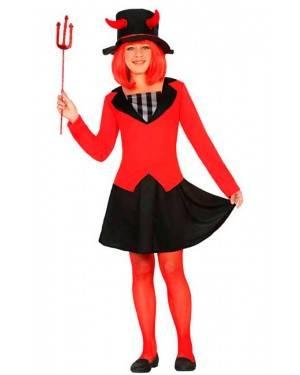 Costume Demone a Righe Bambina 5-6 Anni