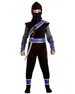 Costume Ninja Nero Taglia 10-12 Anni per Carnevale