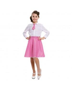 Costume Pin-Up Set Rosa Bambina (Gonna ,Cravatta) per Carnevale | La Casa di Carnevale