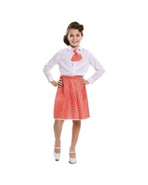 Costume Pin-Up Set Rosso Bambina (Gonna ,Cravatta) per Carnevale | La Casa di Carnevale