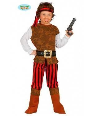Costume Pirata Marrone/Rosso Bambino