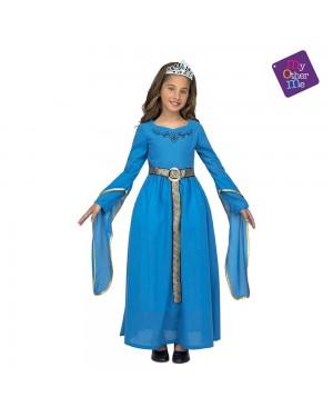 Costume Principessa Medievale Blu Bambina per Carnevale | La Casa di Carnevale