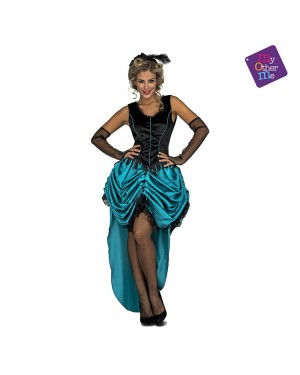 Costume Signorina Saloon Blu M/L per Carnevale | La Casa di Carnevale