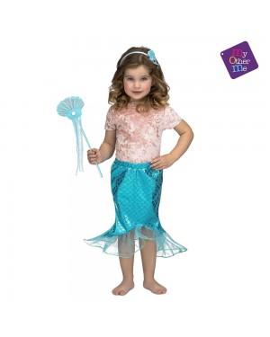 Costume Sirenetta Blu 3-6 Anni per Carnevale | La Casa di Carnevale