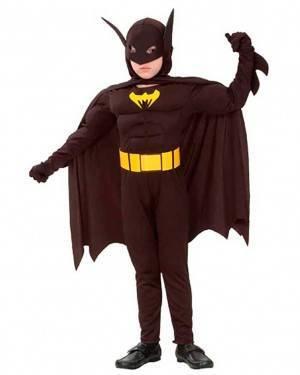 Costume Batman Eroe Muscoloso Bambino Tg. 4-12 Anni
