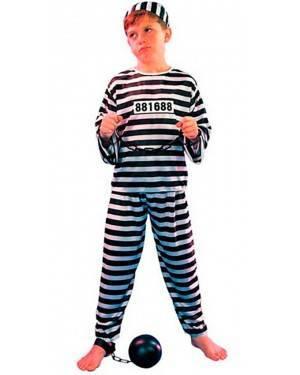 Costume Carcerato Prigioniero. Bambino Tg. 4 a 12 Anni