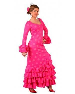 Costume Ballerina di Flamenco Spagnola Fucsia-Rosa