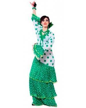 Costume Flamenca Verde. Talla Única. Adaptable a la M Y a la L