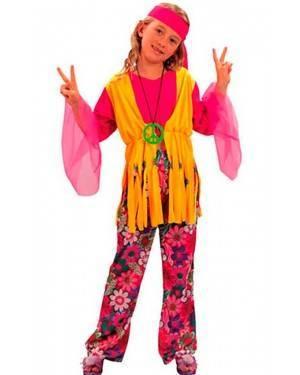 Costume Hippie Bambina Tg. 4 a 12 Anni