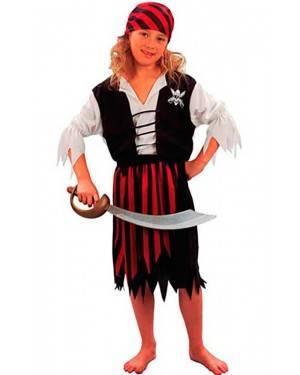 Costume Pirata-Corsaro Bambina Tg. 4 a 12 Anni