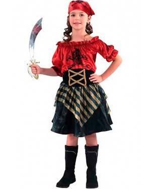 Costume Pirata-Corsaro Rosso Bambina. Tg. 4 a 12 Anni
