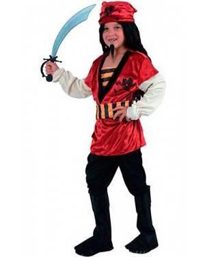 Costume Pirata-Corsaro Rosso Bambino Tg. 4 a 12 Anni