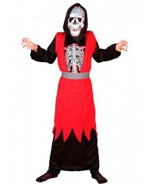 Costume Scheletro Rosso Bambini Tg. 4 a 12 Anni