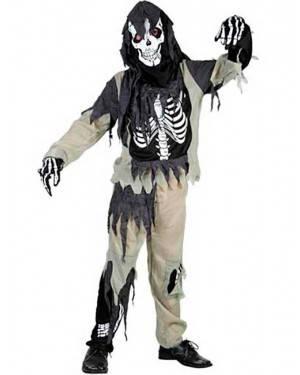 Costume Scheletro Zombie. Bambino Tg. 7 a 12 Anni