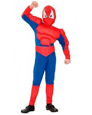Costume Spider Eroe Muscoloso Bambino Tg. 4-12 Anni